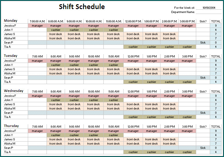 10 Hour Shift Schedule Template Example