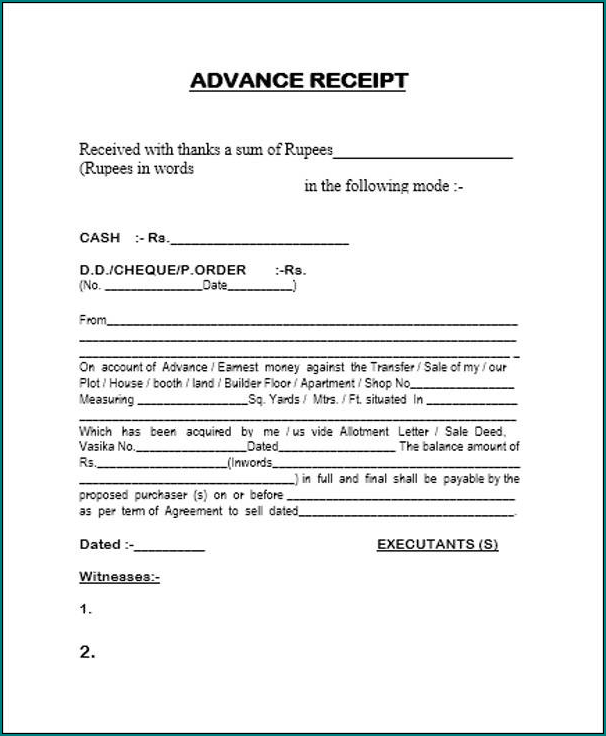 Advance Payment Receipt Template Sample