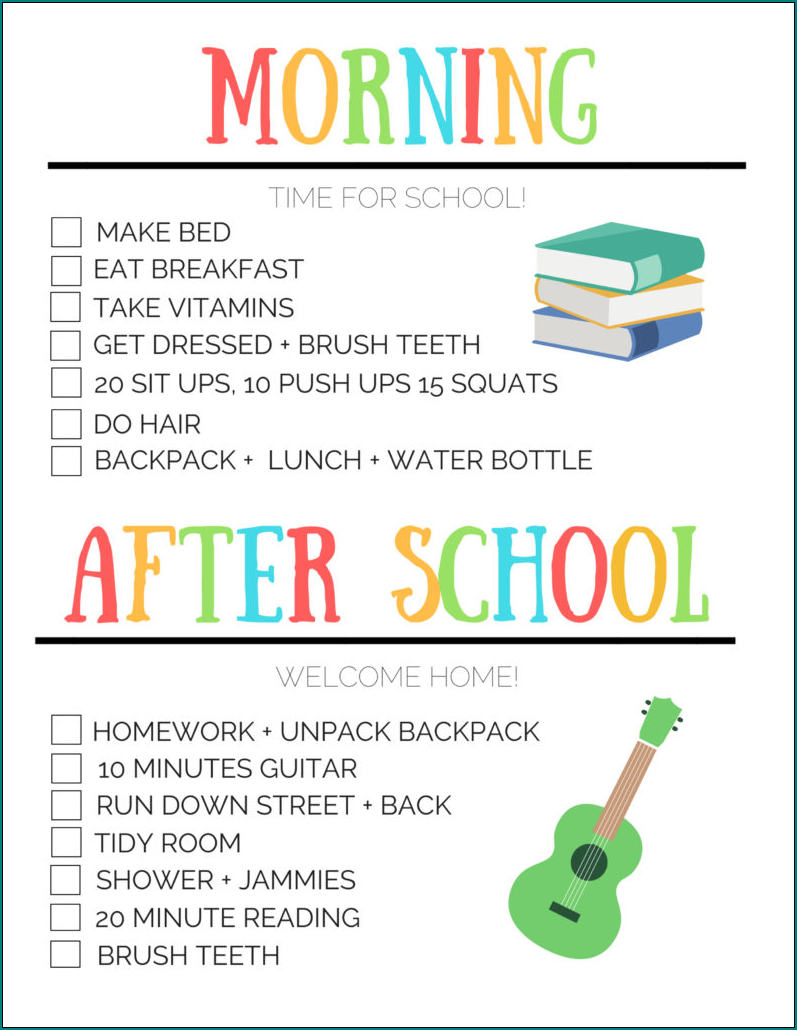 After School Schedule Template Sample