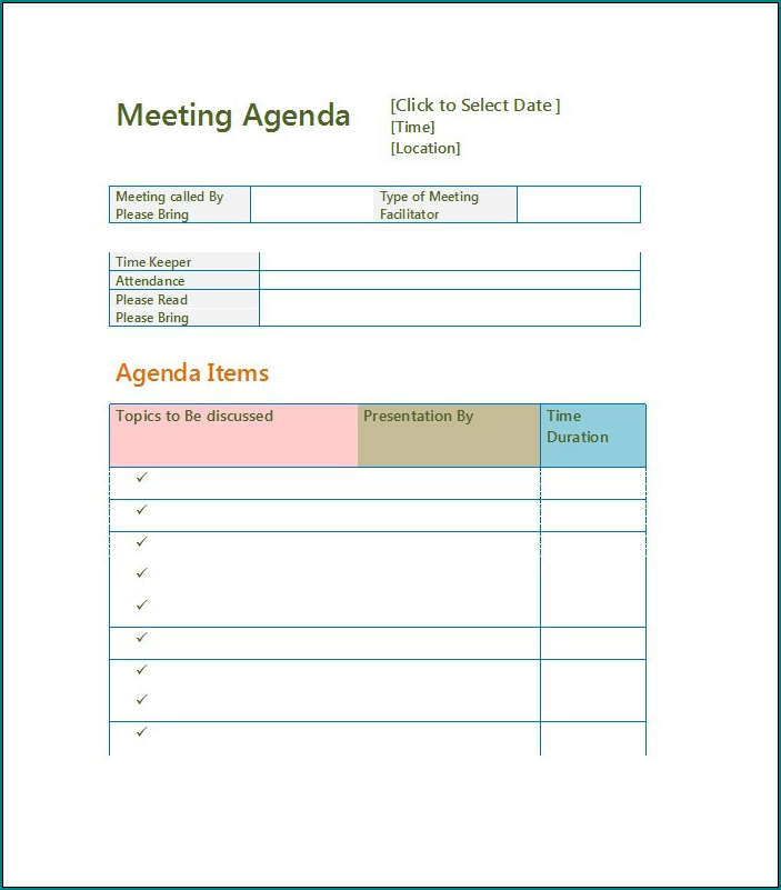 Agenda Template Word Example