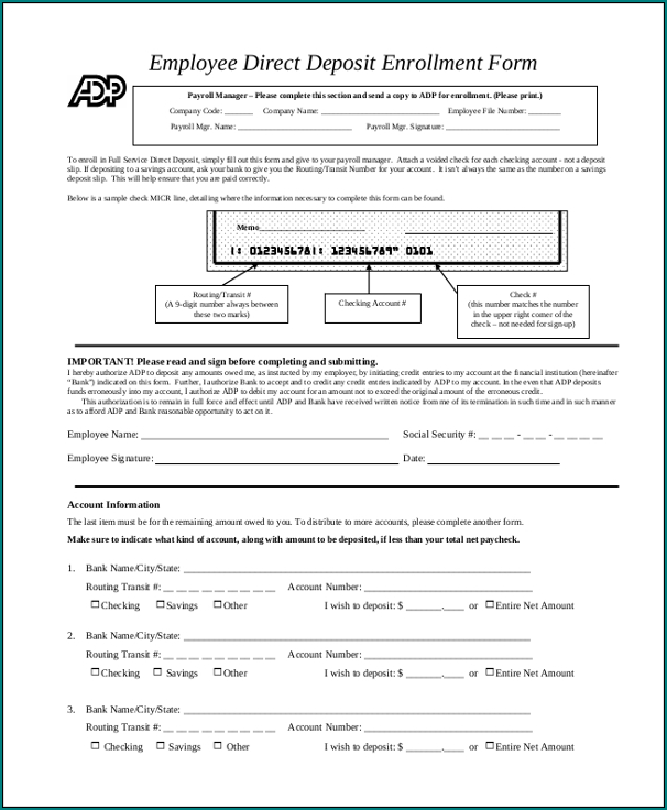 Bank Direct Deposit Form Example