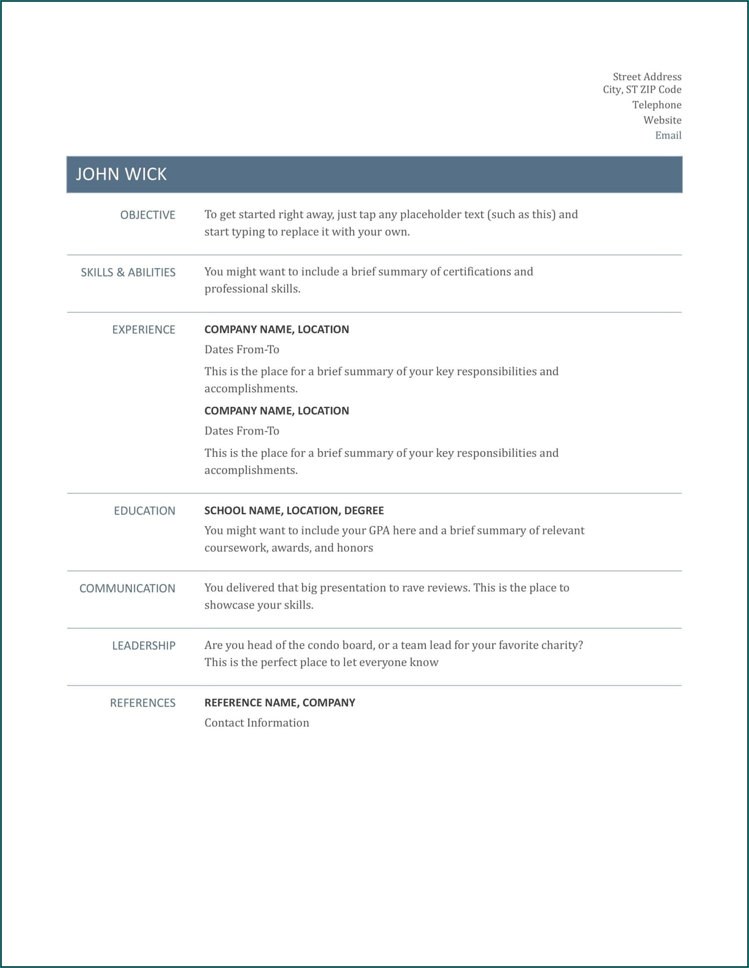 Basic Resume Template Sample