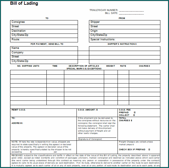 Bill Of Lading Template Word