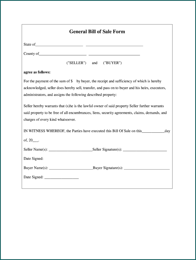 Bill Of Sale Word Template Example