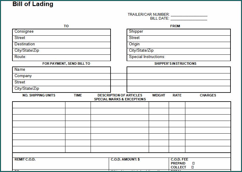 Blank Bill Of Lading Form