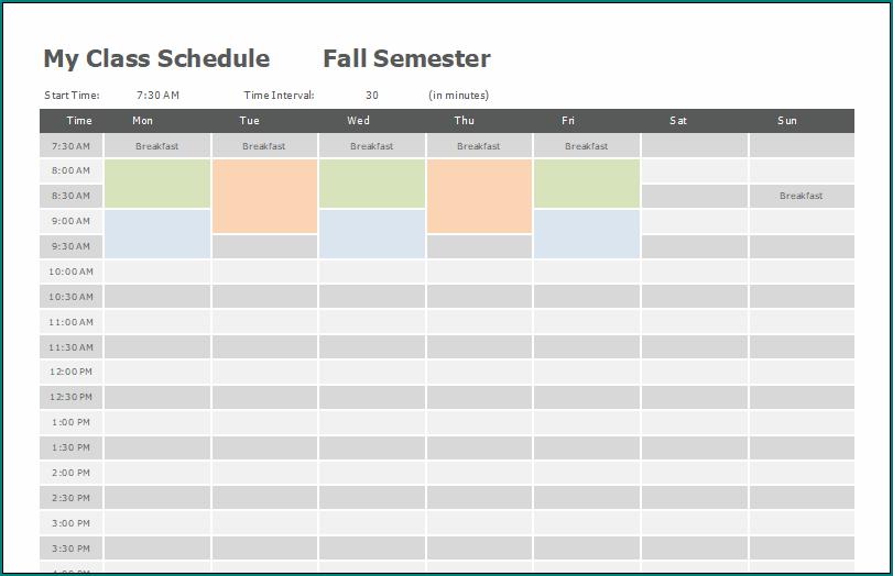 Blank Class Schedule Template