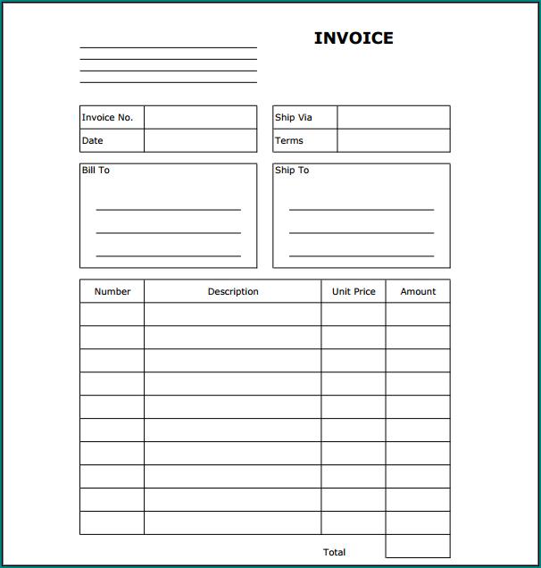 Blank Invoice Template Sample