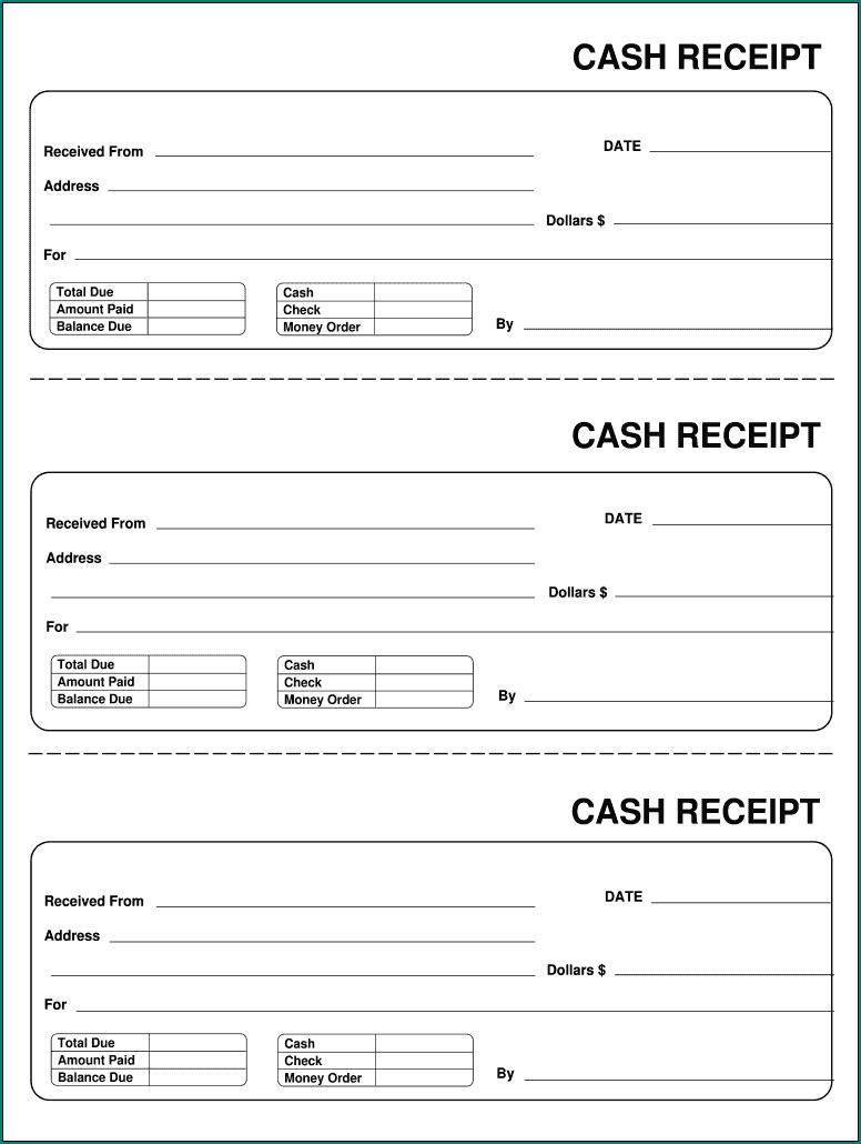 Blank Receipt Form Sample