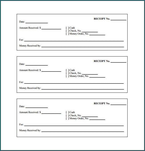 Blank Receipt Template Example