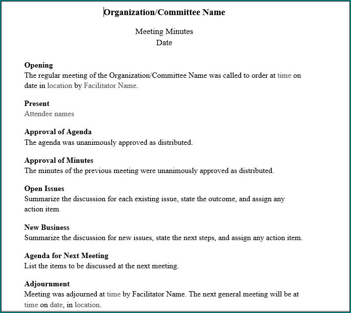Board Meeting Minutes Template Sample