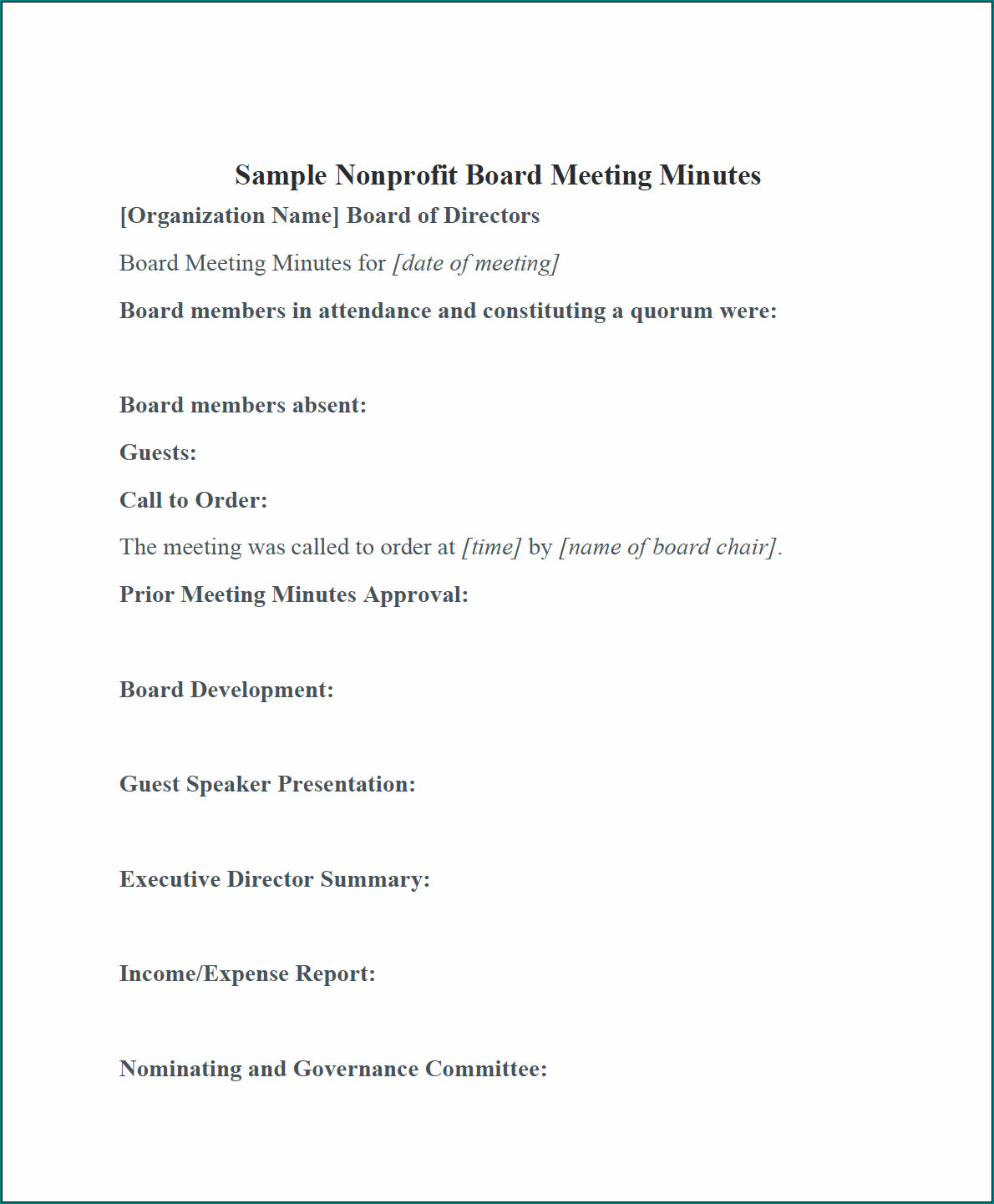 Board Meeting Minutes Template Word Example
