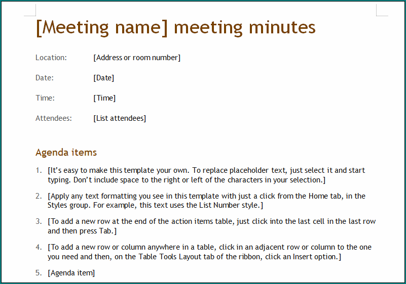 Informal Meeting Minutes Template from www.bogiolo.com
