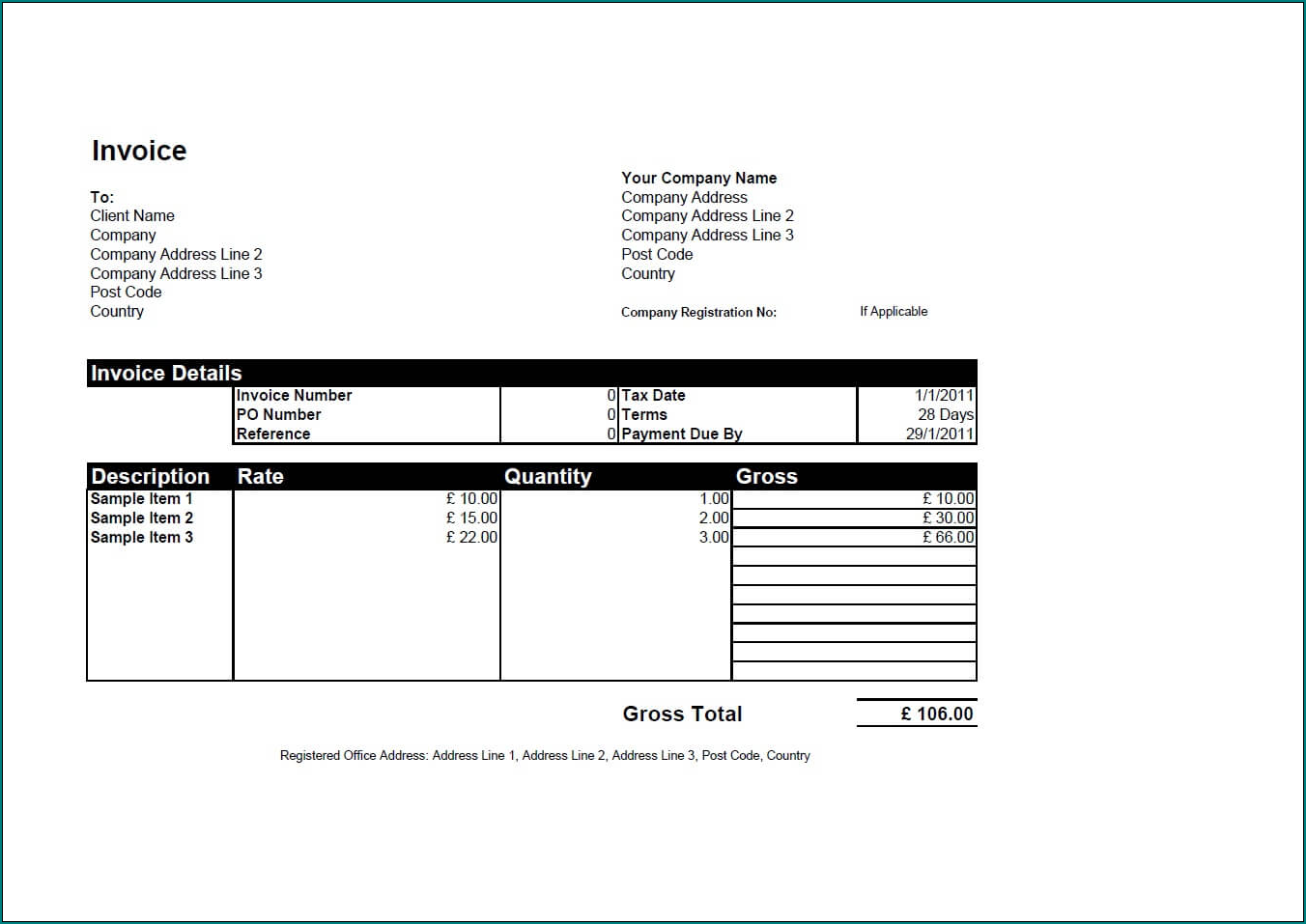 Business Invoice Template Example