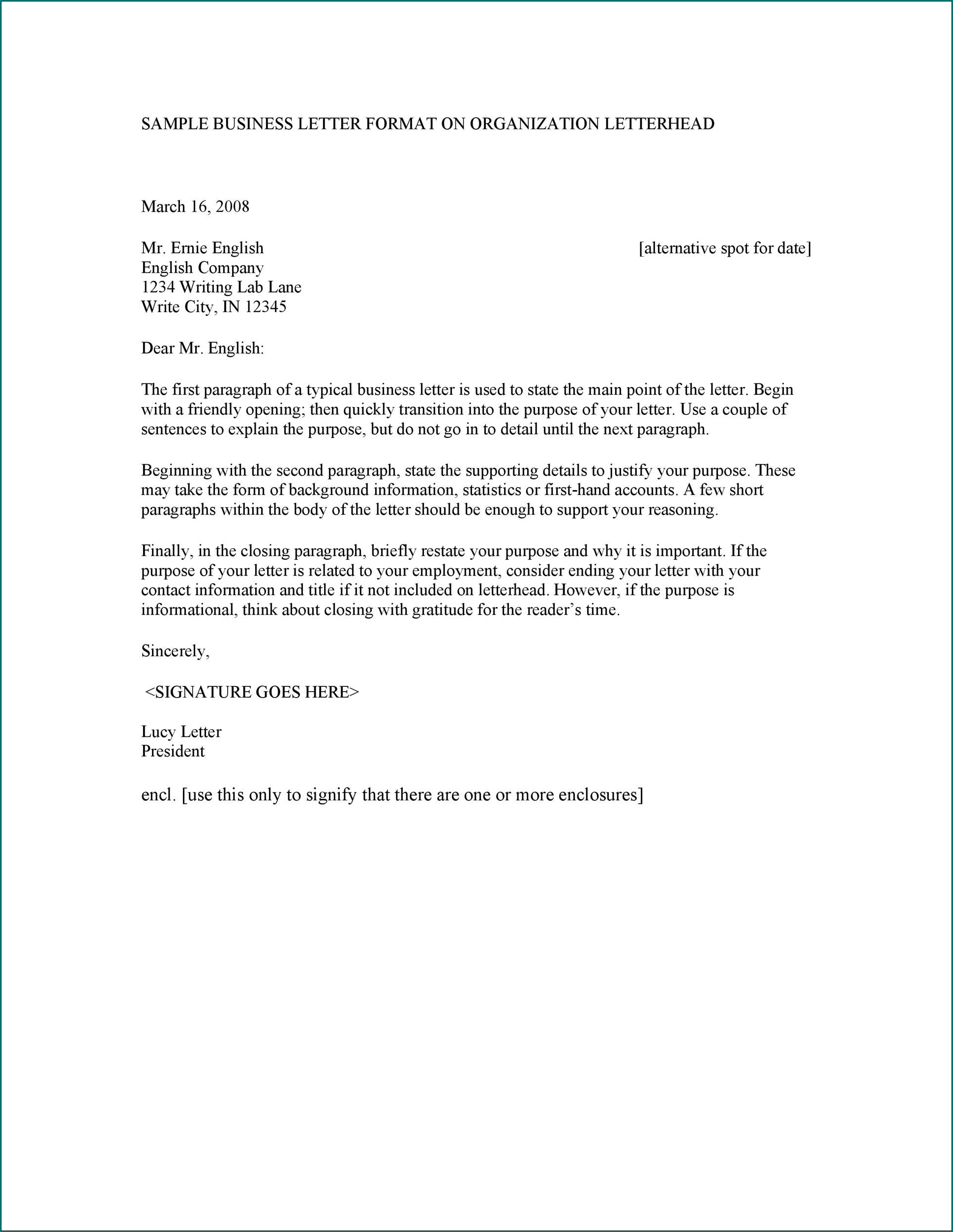 Business Letter Layout Sample