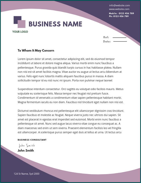 Business Letterhead Template Example