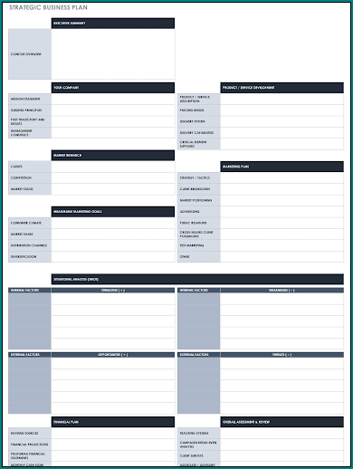 Business Plan Template Excel Example