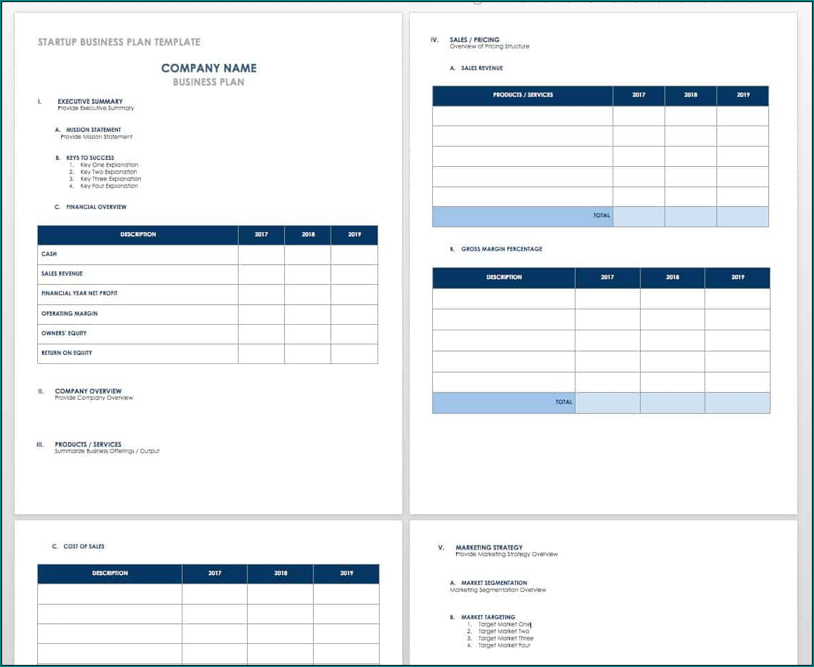 Business Plan Template Excel Sample