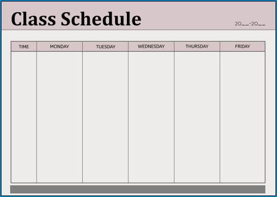 Class Schedule Template Example