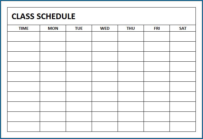 Class Schedule Template Sample