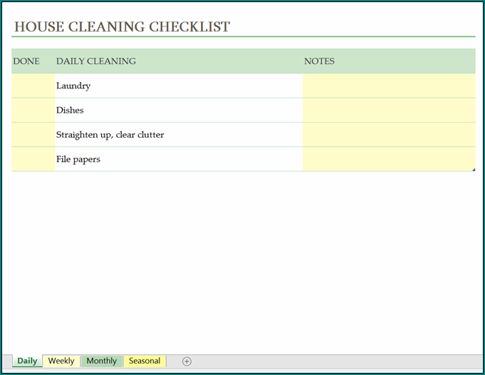 Cleaning Schedule Template Example