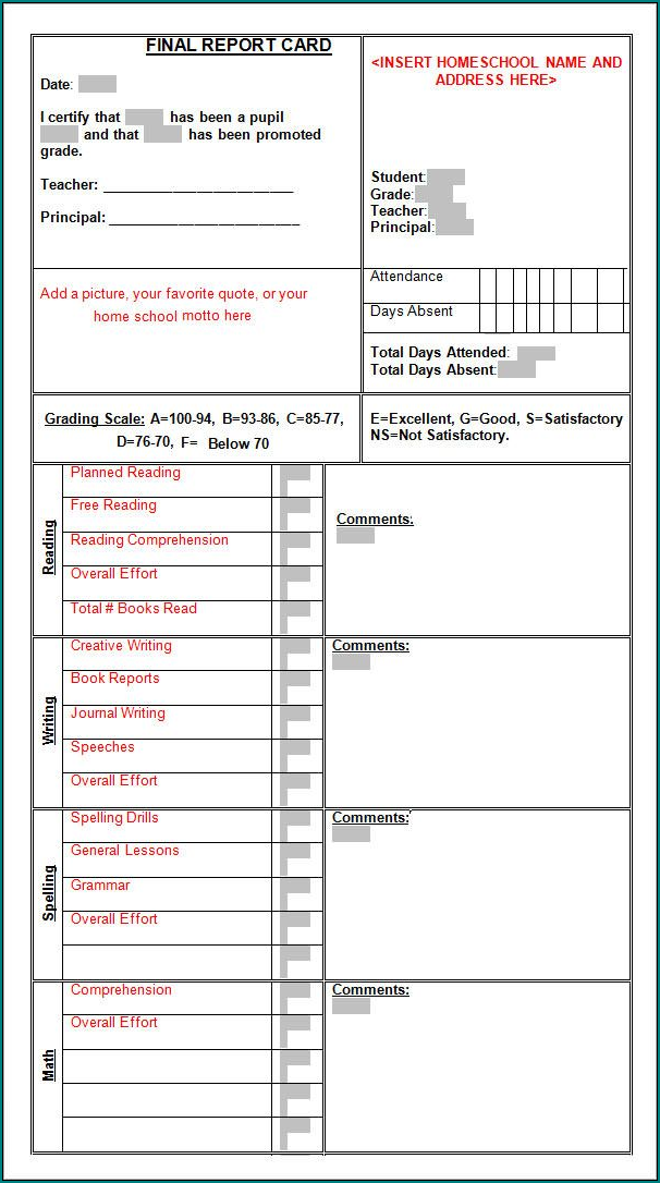 College Report Card Template Sample