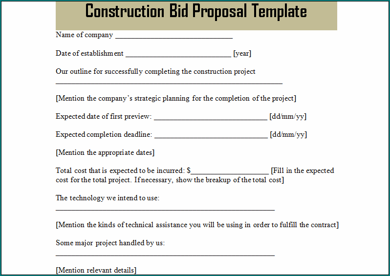 Free Printable Construction Bid Template Bogiolo