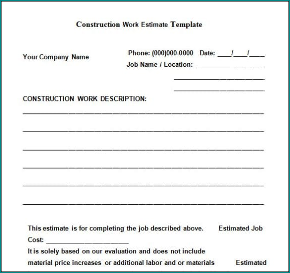 Construction Estimate Form Example