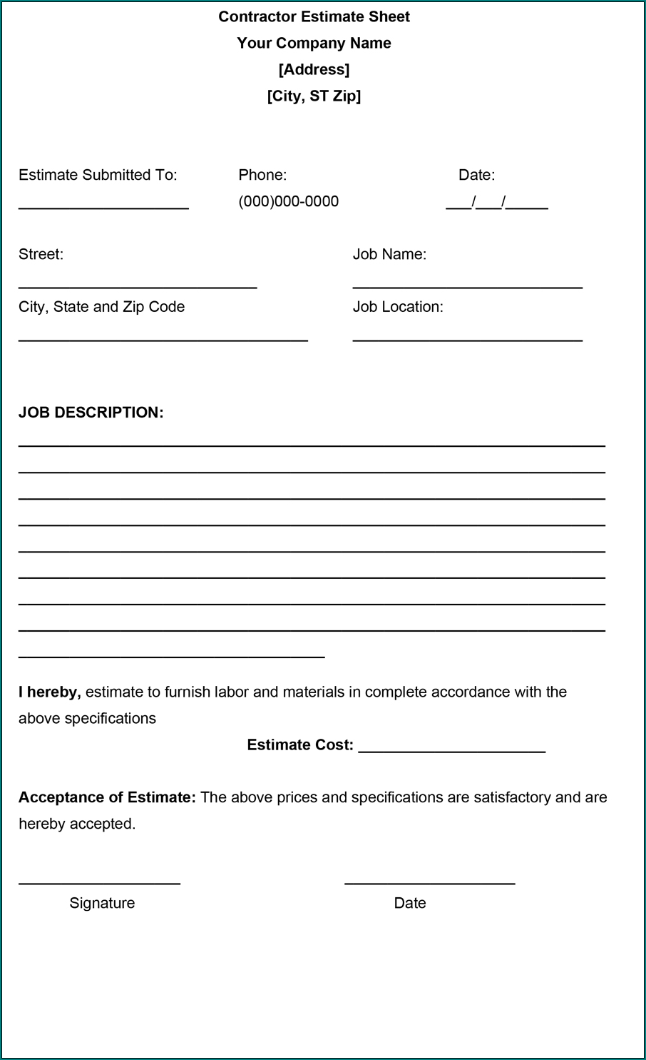Construction Estimate Form Sample