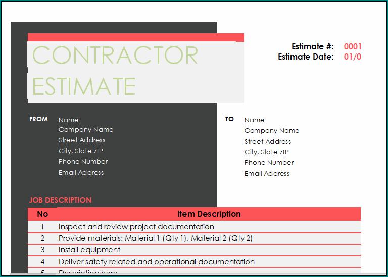 Construction Estimate Form