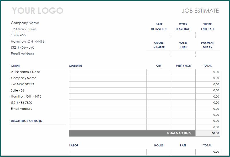 Free Printable Construction Estimate Template Excel Bogiolo