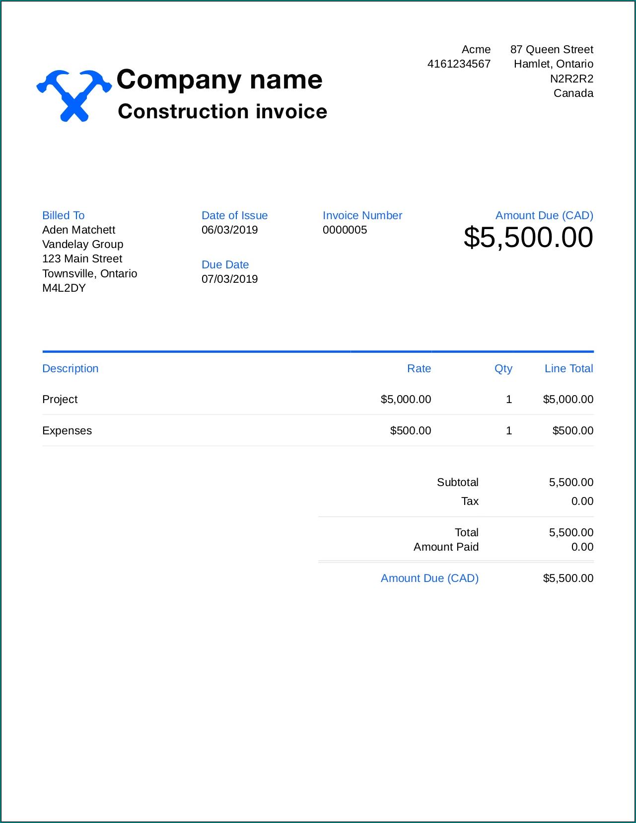 Construction Receipt Template Example