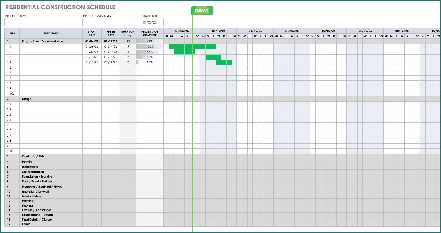 Construction Schedule Template Excel Example