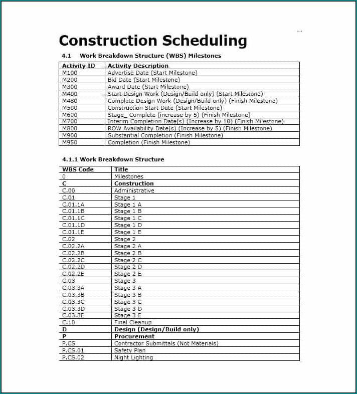 Construction Schedule Template Excel Sample