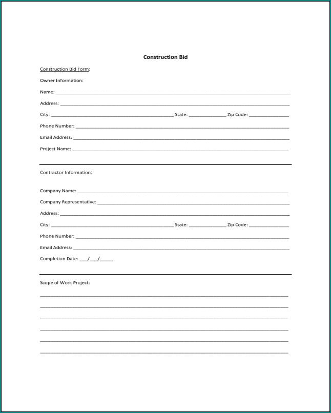 Contractor Bid Form Example