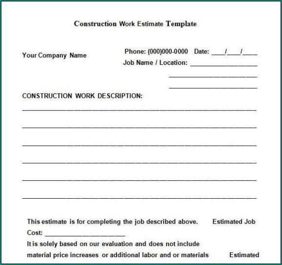 Contractor Estimate Form Example