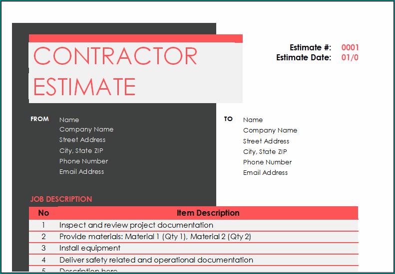 Contractor Estimate Form