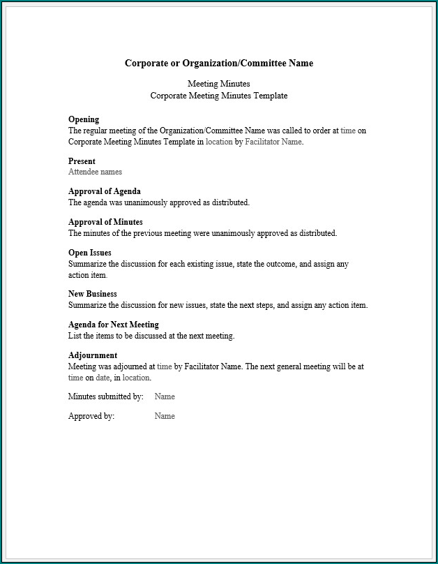 Corporate Meeting Minutes Template Sample