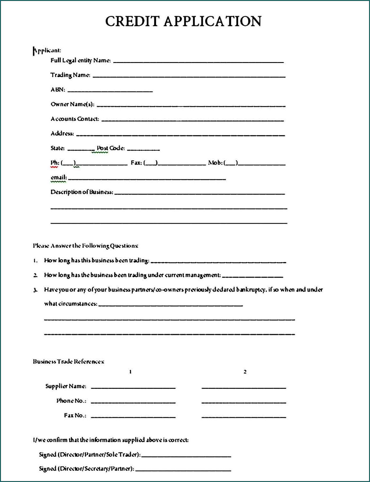 Credit Application Template Sample