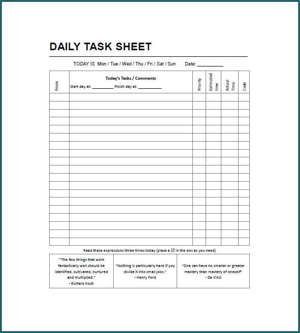 Daily Task List Template Example