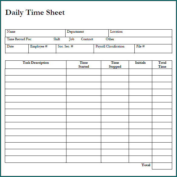 Daily Timesheet Template Example