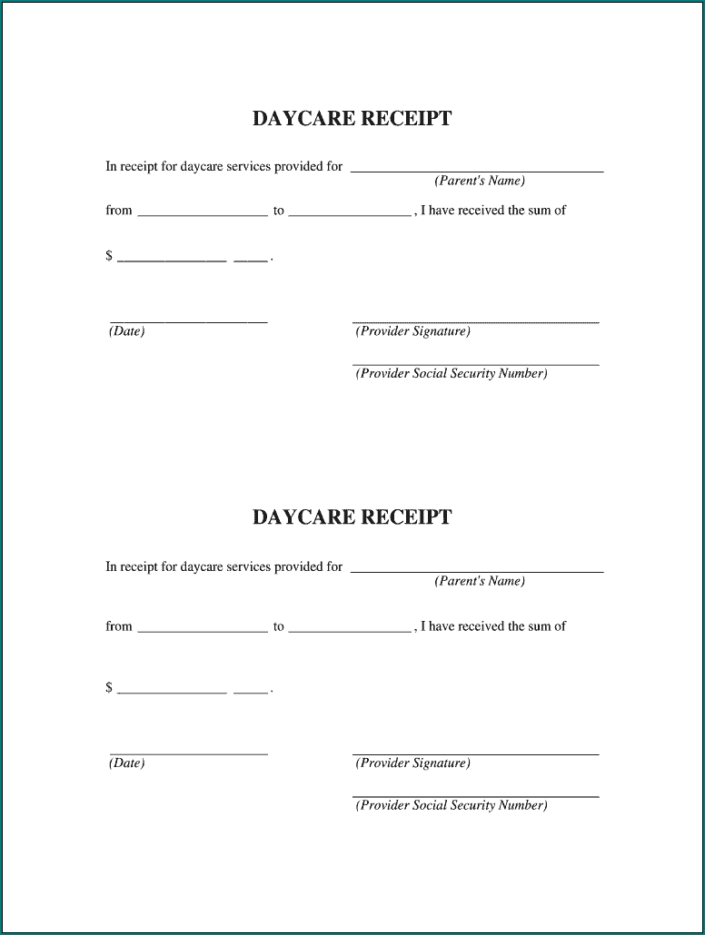 Daycare Receipt Template Example