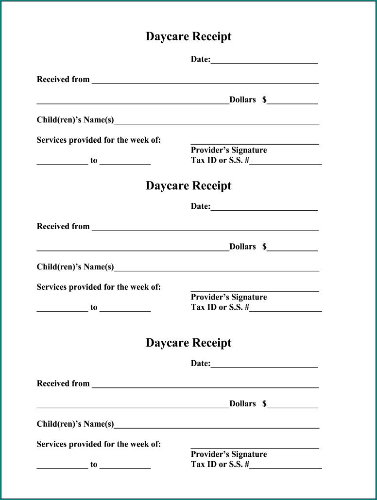 Daycare Receipt Template Sample