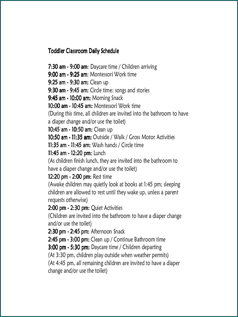 Daycare Schedule Template Example