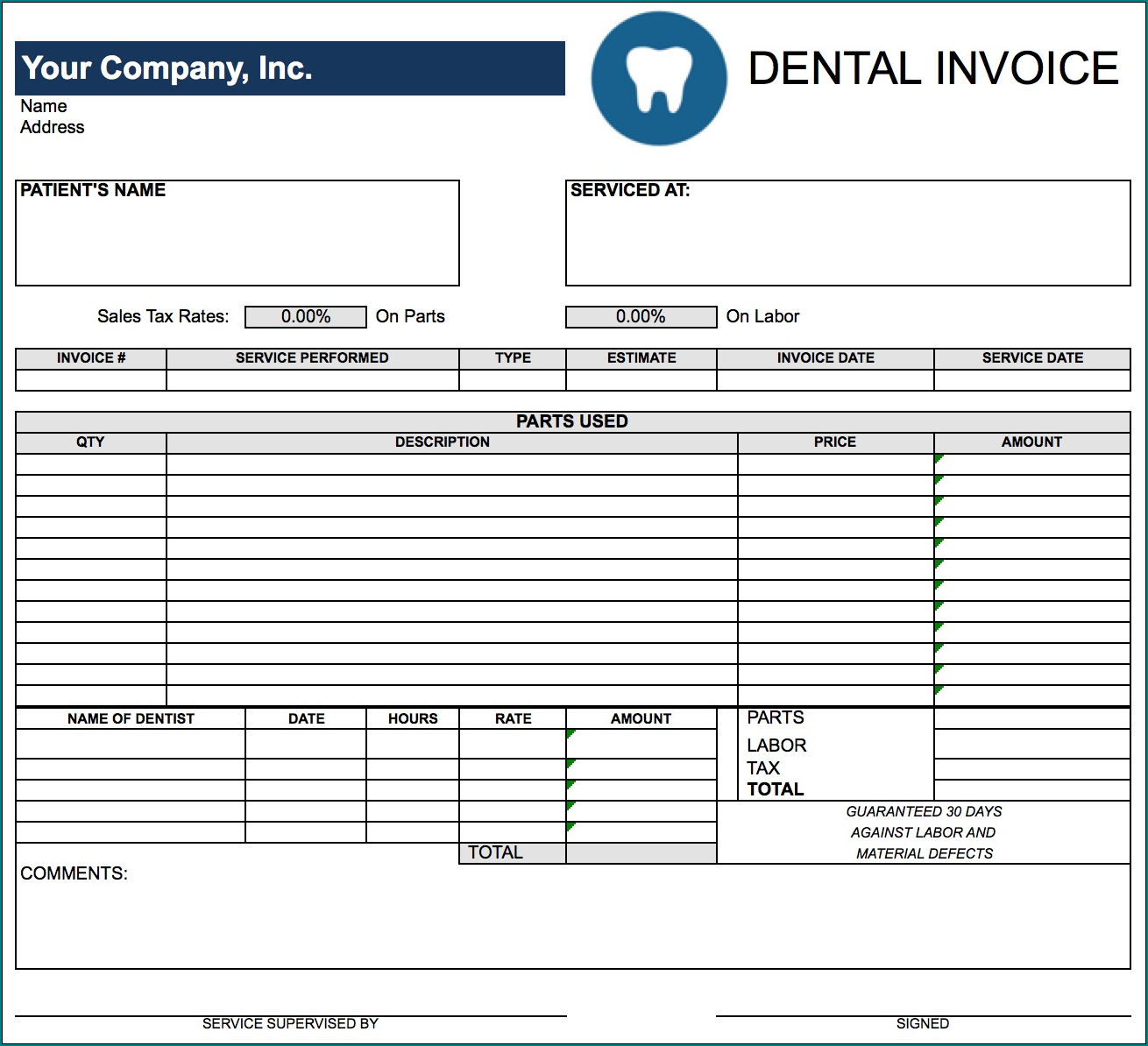 Dentist Receipt Template Sample