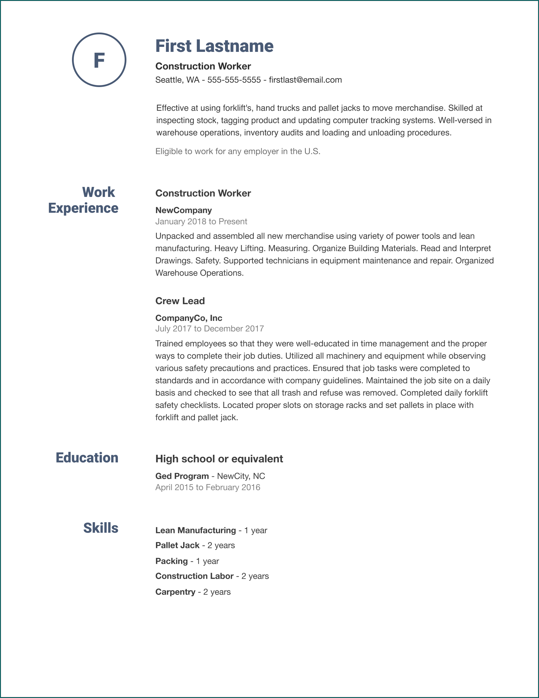 Easy Resume Template Example