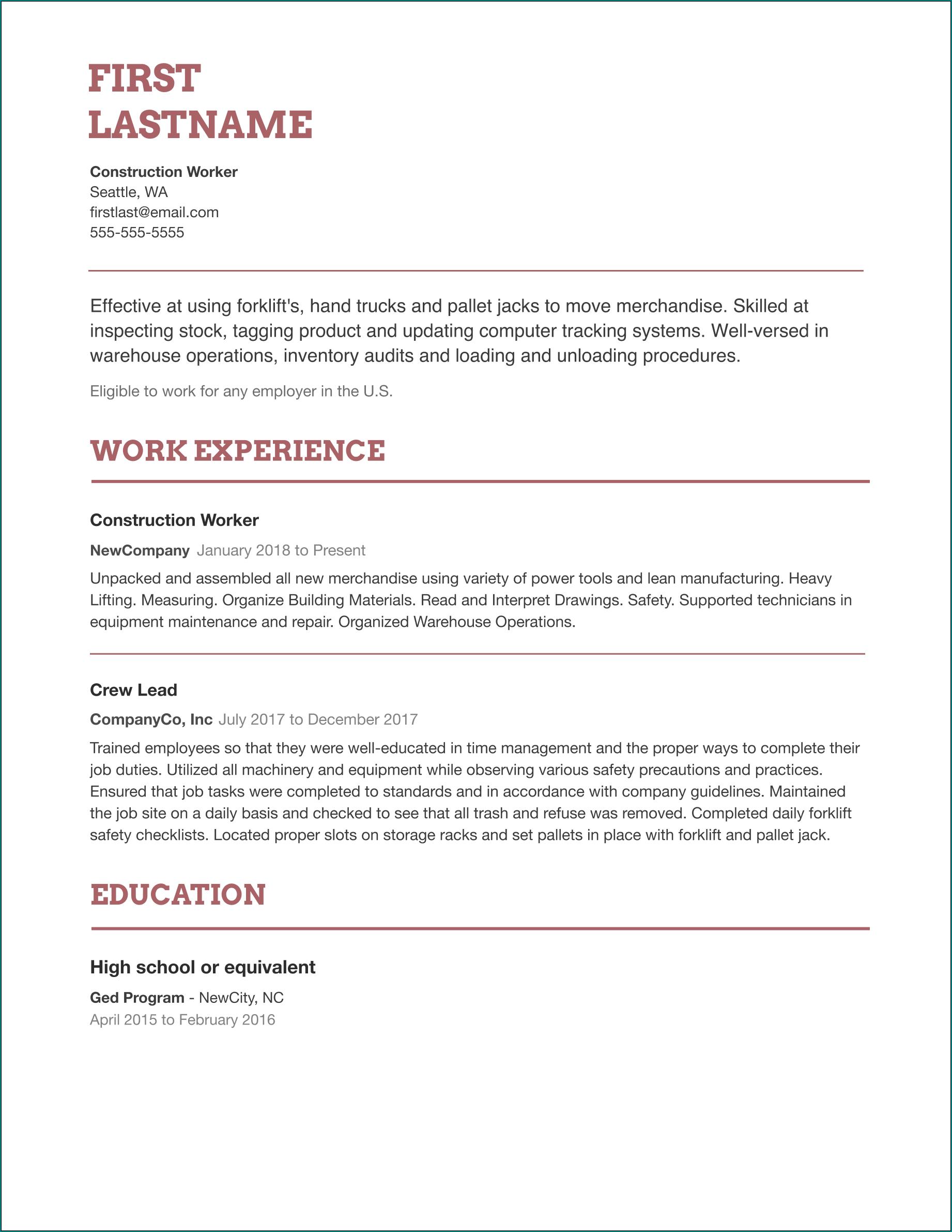 Easy Resume Template Sample