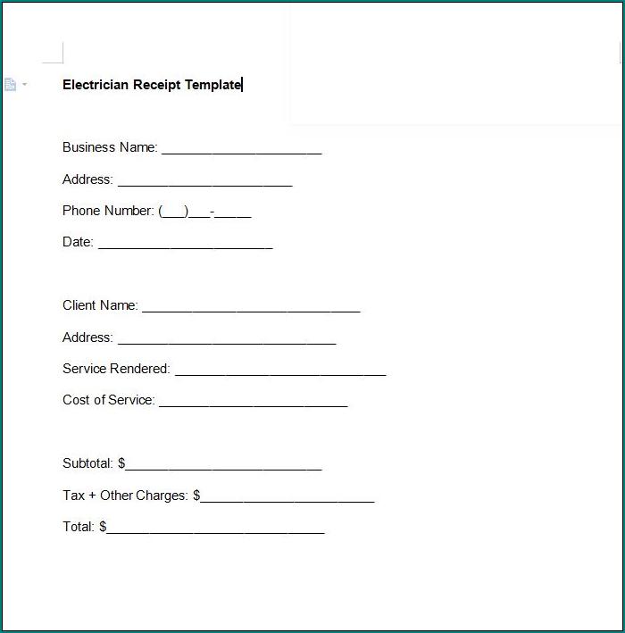 Electrician Receipt Template Sample