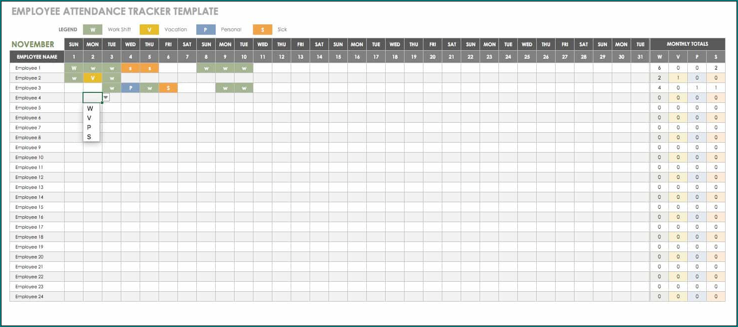 Employee Absence Schedule Template Sample