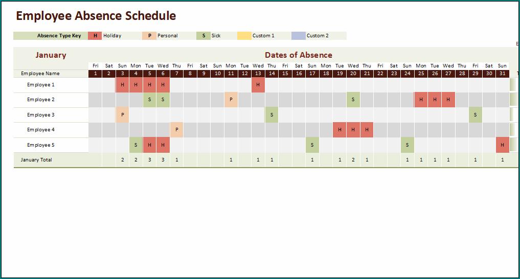 Employee Absence Schedule Template