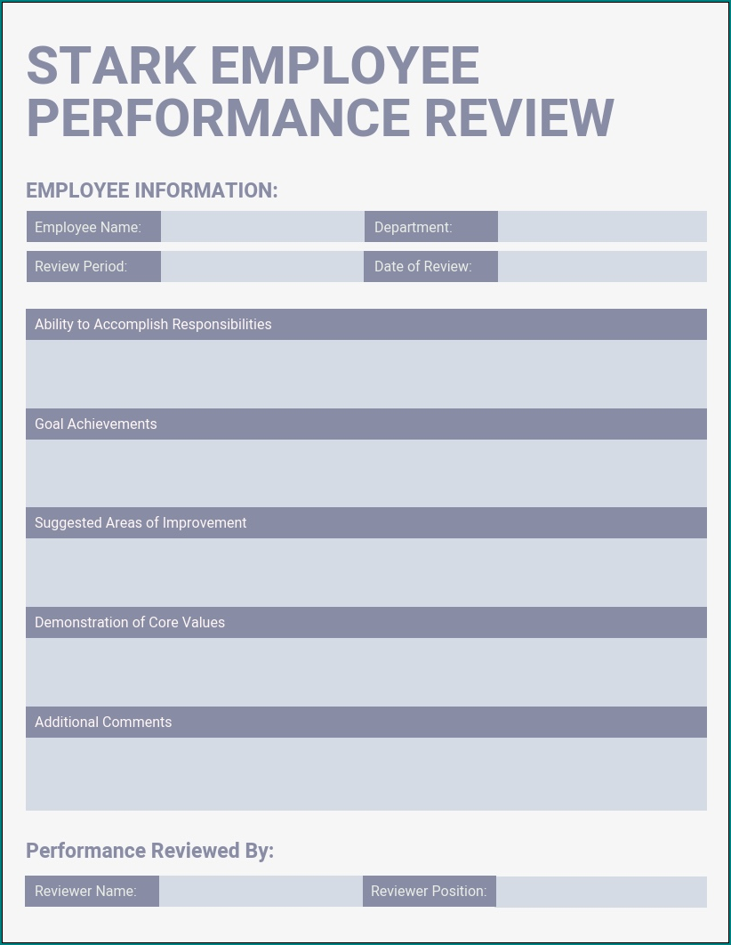 Employee Evaluation Template Example
